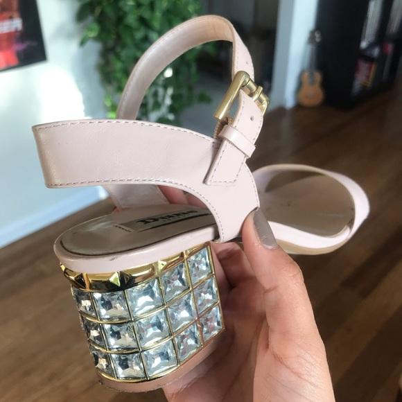 Bejeweled block heel sandal